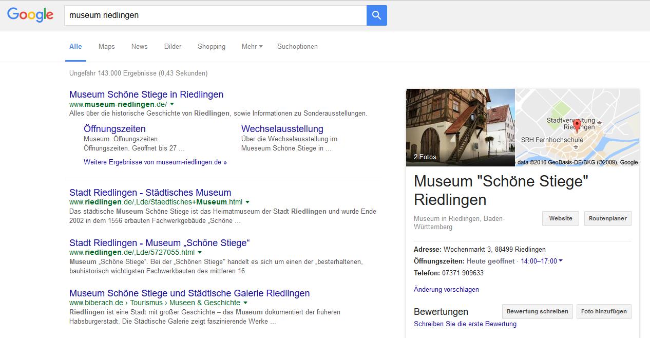 Google-Screenshot für die Suche nach dem Museum Schöne Stiege Riedlingen