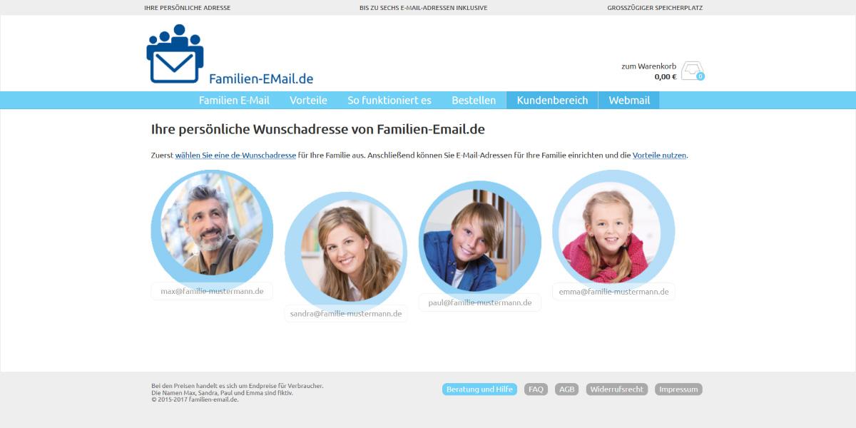 <b>Familien-EMail.de</b><br>Responsive WordPress-Site mit einem WooCommerce-Shop und einen geschlossenen Benutzerbereich