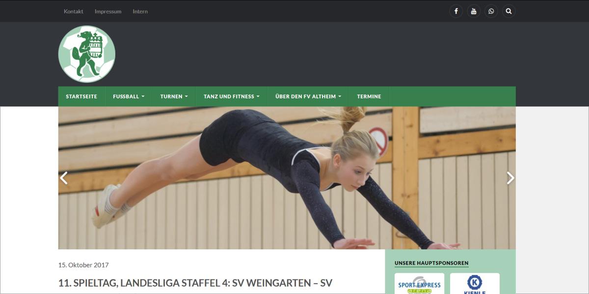 <b>FV Altheim e.V. (ab 2018)</b><br>Responsive WordPress-Webdesign mit Veranstaltungskalender