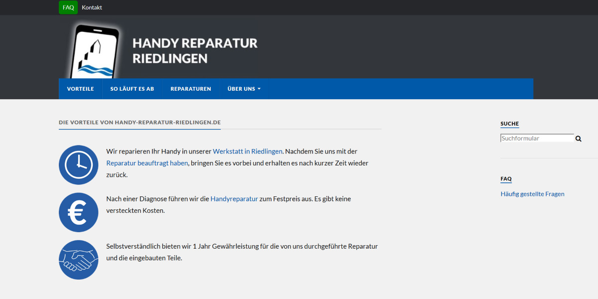 <b>Handy Reparatur Riedlingen</b><br>Responsive WordPress-Webdesign, Logo-Design