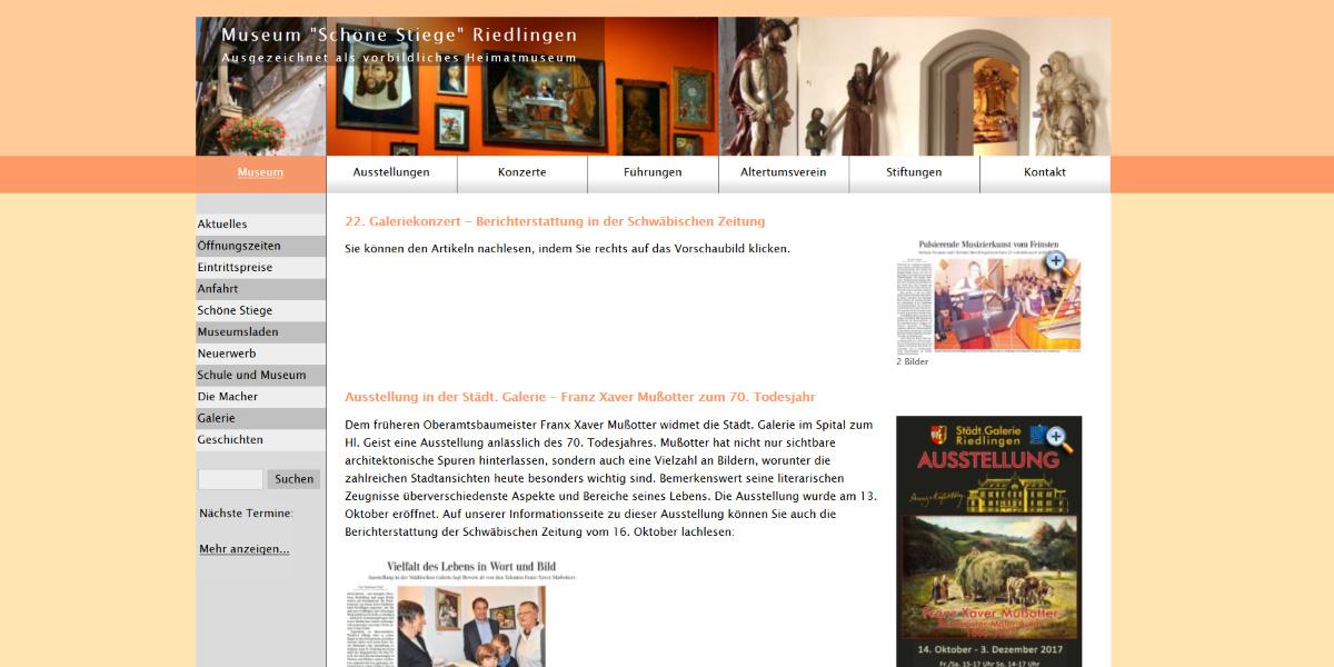 <b>Museum 'Schöne Stiege' in Riedlingen</b><br>Individuelles Webdesign mit HTML5 und CSS3