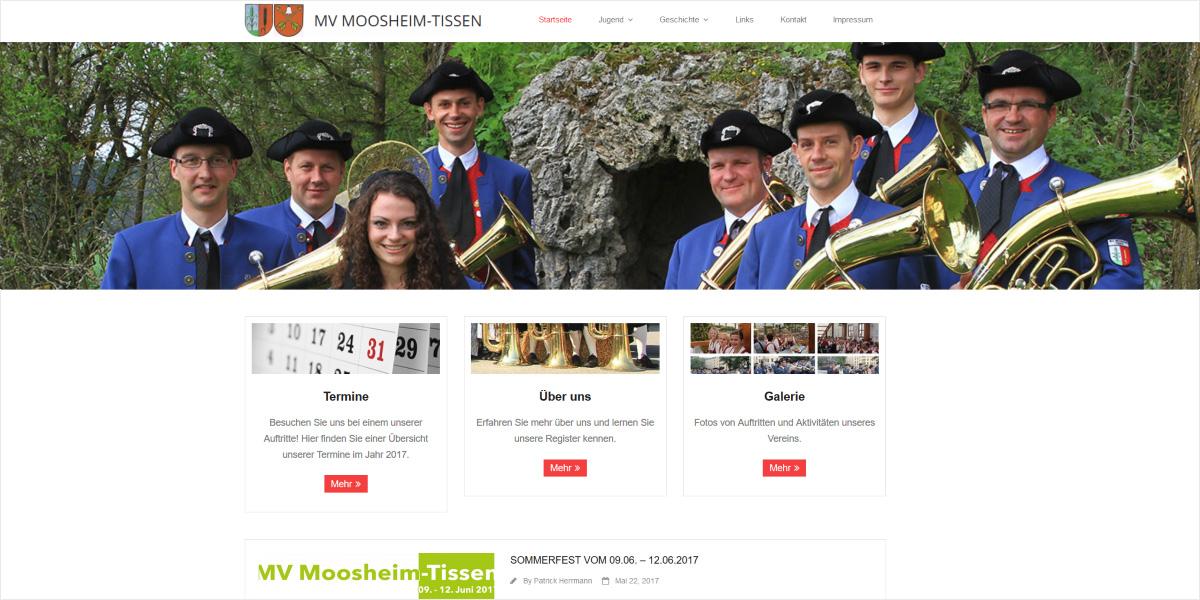 <b>Musikverein Moosheim-Tissen (bei Bad Saulgau)</b><br>WordPress-Webdesign mit einem Slider in Bildschirmbreite