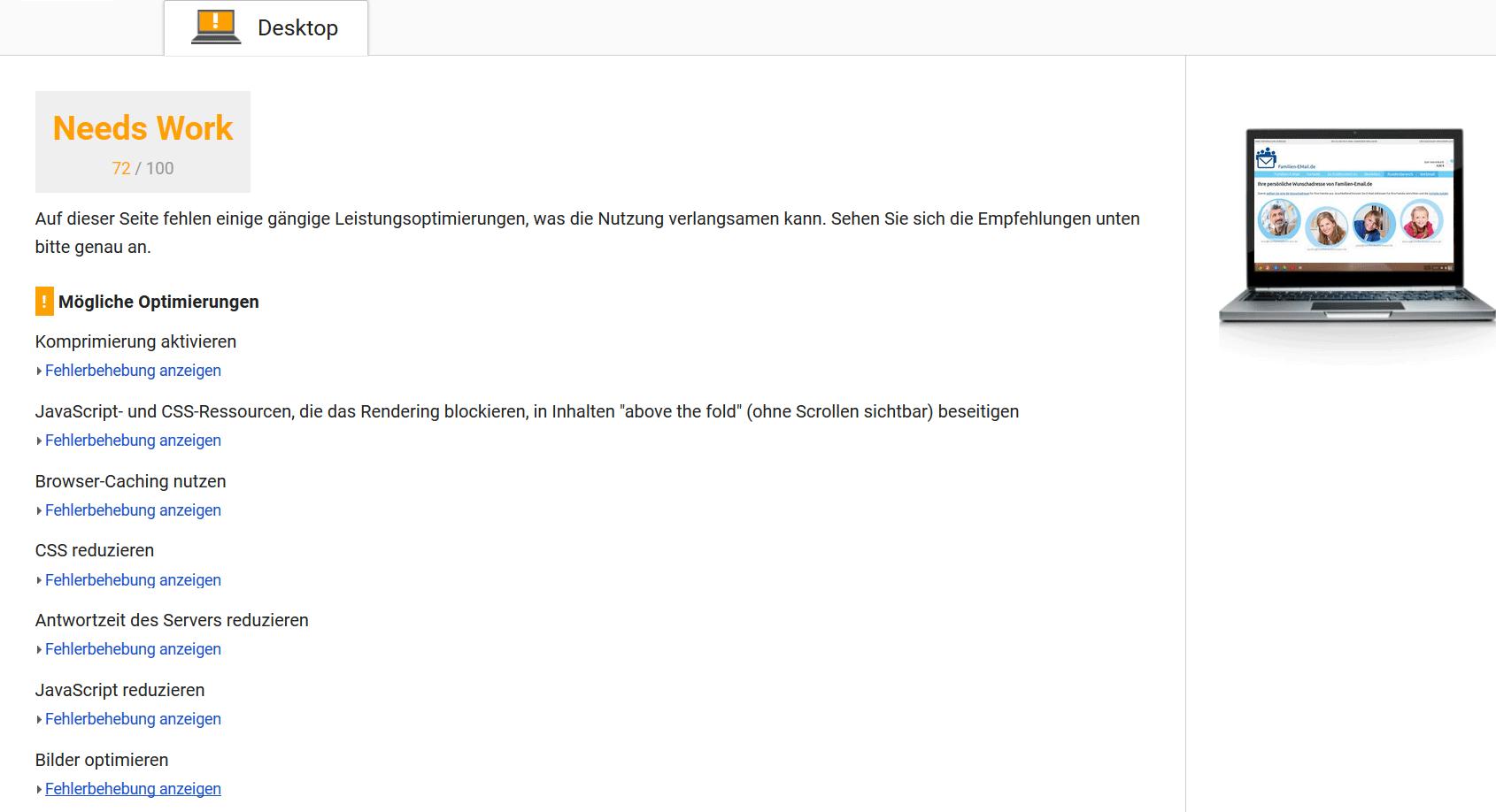 Google PageSpeed Insights-Ergebnis vor der Optimierung