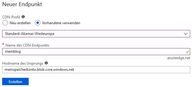 Microsoft Azure CDN Endpunkt