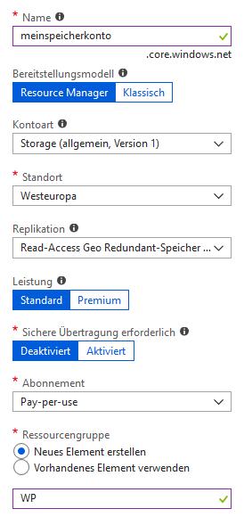 Microsoft Azure Speicherkonto