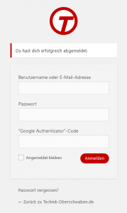 Angepasste WordPress-Login-Seite für Technik-Oberschaben.de